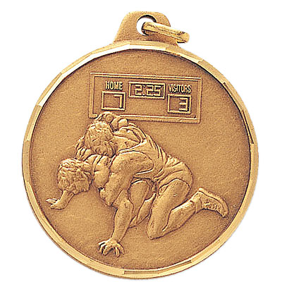 1-1/2 Inch Diamond Cut Border Wrestling Pin Down Positon Medal