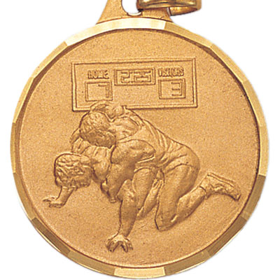 1-1/4 Inch Diamond Cut Border Wrestlers with Take down Position Medal