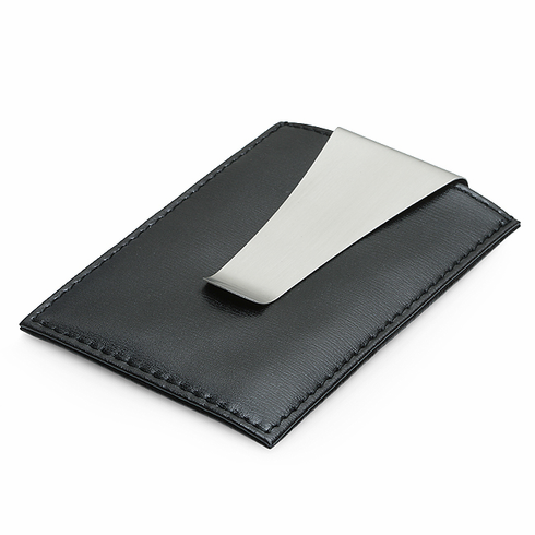 Genuine Leather and Stainless Steel Money Clip & Credit Card Holder
