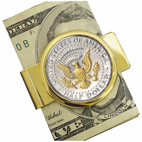 JFK Presidential Seal Coin Polished Gold Money Clip