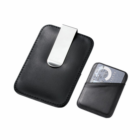 Leatherette Card Holder & Stainless Steel Money Clip