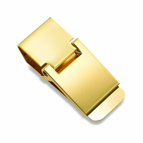 Polished Gold Hinged Money Clip