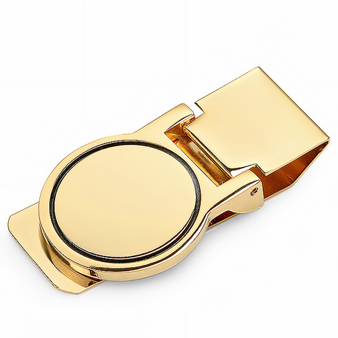 Polished Gold Round Face Hinged Money Clip