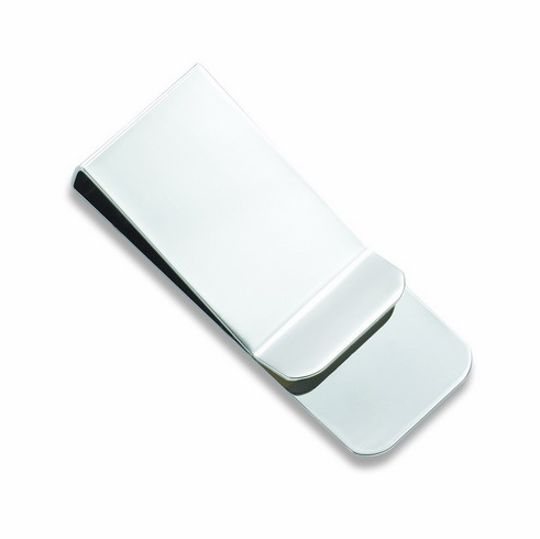 Polished Silver French Fold Money Clip