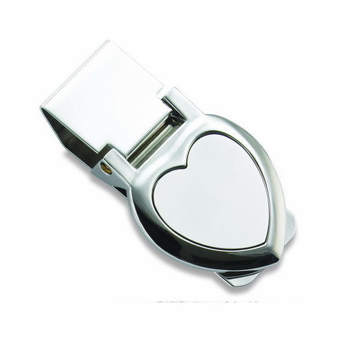 Two Tone Heart Shaped Hinged Money Clip