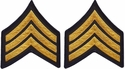 Pair of Shirt Size Gold on Navy Blue Police Sergeant Chevron Patches