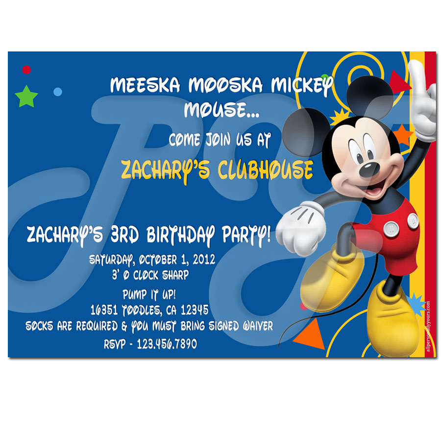 mickey mouse clubhouse personalized invitations