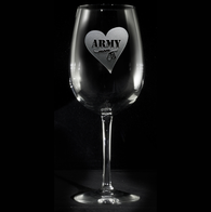 Army Mom Engraved Wine Glass