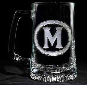 Beer Mugs Engraved with Monogram Initial
