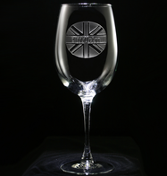 British Flag Engraved Monogram Wine Glass