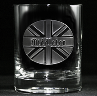 British Flag Monogram Whiskey Glass