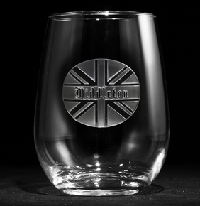 British Flag Personalized Stemless Wine Glass