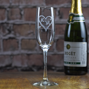 Carved Initials in Heart Champagne Glass