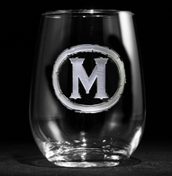 Custom Engraved Monogram Stemless Wine Glass