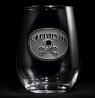 Customized Skull and Bones Stemless Wine Glass