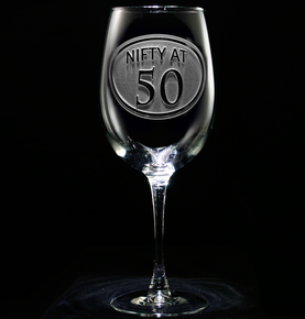 Engraved 50th Birthday Wine Glass