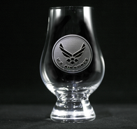 Engraved Air Force Glencairn Whisky Glass