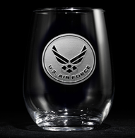 Engraved Air Force Stemless Wine