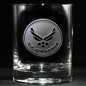Engraved Air Force Whiskey Scotch Glasses