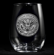 Engraved Army Stemless Wine Glasses