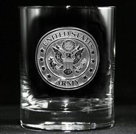 Engraved Army Whiskey Glass