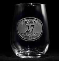 Engraved Birthday Stemless Wine Glass