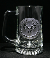 Engraved Deer Skull Antlers Beer Mug, European Mount