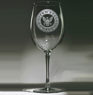 Engraved Etched Navy Wine Glasses