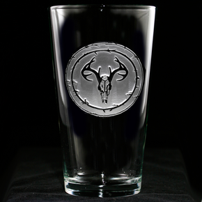 Engraved European Mount Deer Skull Pub Pint Beer Glass