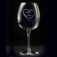 Engraved Heart Red Wine Glass