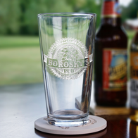 Engraved Hops Beer Pub Glass
