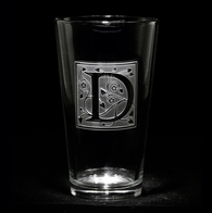 Engraved Letter Initial on Pub Pint Water Glass