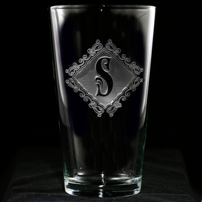 Engraved Monogram Pub Pint Beer Glasses