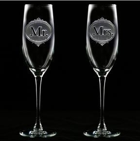 Engraved Mr. and Mrs. Champagne Glasses
