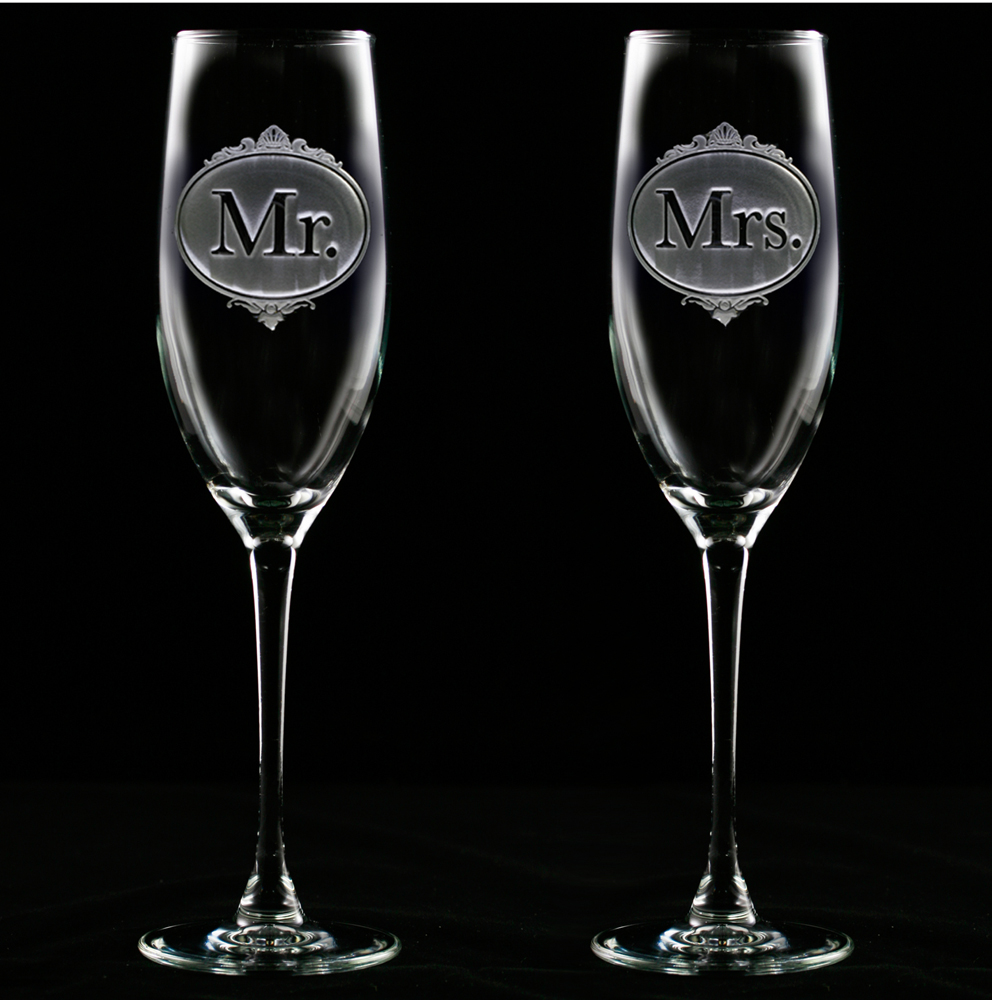 Wedding Engraved Gles Champagne Meld Work Carved