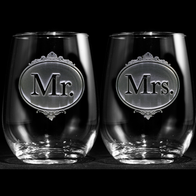 Engraved Mr. and Mrs. Stemless Wine Glasses
