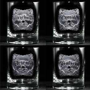 Engraved Name Your Poison Whiskey Scotch Glass Set, Arsenic, Cyanide