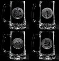 Engraved Nautical Beer Mug Set of Four Beach Glasses