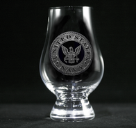 Engraved Navy Glencairn Glass