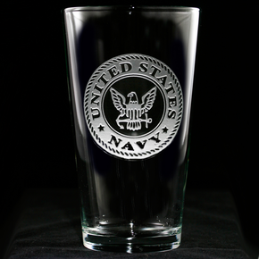Engraved Navy Pub Pint Beer Water Glass