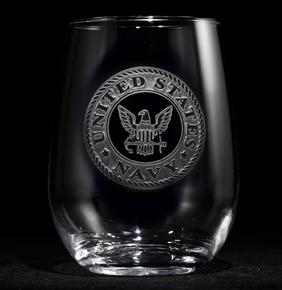 Engraved Navy Stemless Wine Glasses