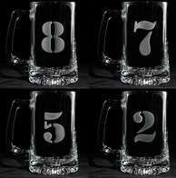 Engraved Numbered 1 thru 8 Beer Mug Set