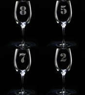 Engraved Numbered 1 thru 8 Wine Glass Set