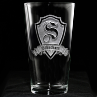 Engraved Personalized Shield Pub Glass