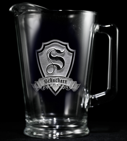 Engraved Personalized Shield Pitcher