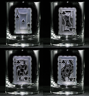 Engraved Poker Playing Cards Whiskey Scotch Glass Set
