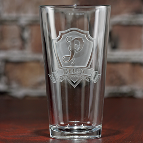 Engraved Shield Pub Glass