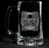 Engraved Skull and Bones Beer Mug