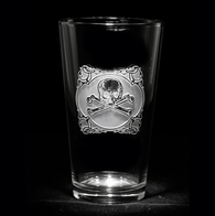 Engraved Skull and Bones Pub Pint Beer Glasses