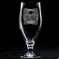 Engraved Skull and Bones Water Goblet